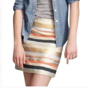 J. Crew metallic striped mini skirt